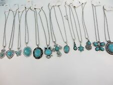 *US Seller*wholesale 10pcs vintage style turquoise gemstone pendant necklace