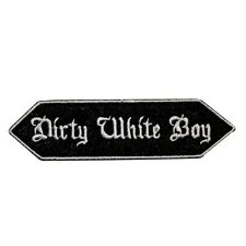 Dirty White Boy Name Tag Uniform Iron On Badge Applique Patch KN 374B