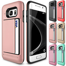 Luxury Card Pocket ShockProof Hybrid Wallet Case For Samsung Galaxy S7-Rose Gold
