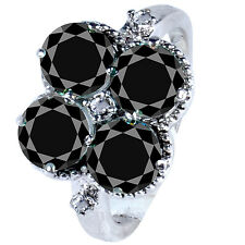 3.18 ct AAA BLACK MOISSANITE & NATURAL ROUGH DIAMOND .925 SILVER RING SIZE 7