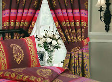 "VINTAGE KASHMIR BURGUNDY & GOLD PENCIL PLEAT CURTAINS 66"" X 72"" WITH TIE BACKS"