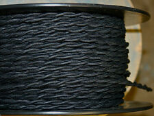 10'Black Twisted Cloth Covered Wire Antique Vintage Style Cloth Lamp Lights Cord