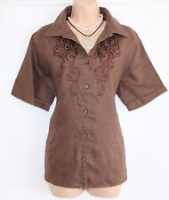 Brown 100% Linen CANDA C&A Embroidered Fitted Women's Blouse Shirt Sz UK18 UK20
