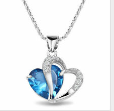 925 Sterling Silber Doppel Herz Anhänger mit Halskette Kette Strass Blau Neu