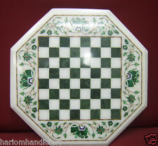 """13"""" Marble Coffee Chess Table Top Elephant Inlay Mosaic Work Outdoor Decor H2076"""