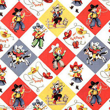 Per ½ Metre - Michael Miller RETRO YIPPEE Novelty Cowboy Cowgirl Rodeo Fabric