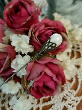 Victorian Hat Pin Vintage Inspired Pearl Beads & Antique Brass Customize Length