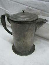 Early Soldered Tin Coffee Pot Primitive Pitcher Handled w/Lid Tea Teapot