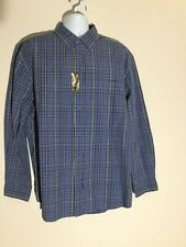 NWT MEN TIMBERLAND BLUE PLAID BUTTON FRONT COLLARED SHIRT SIZE LARGE