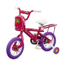 "New Tomy John Deere Heavy Duty 12"" Girl's Bicycle Hot Pink"