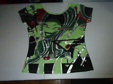 CUSTO BARCELONA Neon/Green/Girl/LADY FACE/Silver Shirt/Top/BLOUSE 3 S Small Jrs