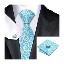 Mens Blue & White Wedding Floral 100% Silk Pocket Square Cufflink Tie Formal Set