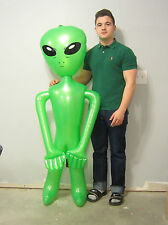 "2 NEW INFLATABLE GREEN ALIENS 60"" BLOW UP INFLATE ALIEN HALLOWEEN PROP GAG GIFT"