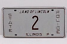 Mid To Late 1980's Illinois State Police Number 2 License Plate.