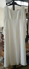 Vintage Demetrios Beaded Bridal Wedding Gown White Dress Size 22 Chiffon Train