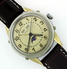 Automatic Gubelin Triple Date Moon Phase Stainless Steel Watch w/Gold Lugs WOW!