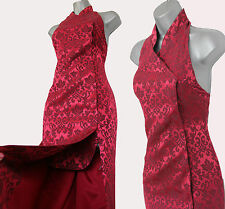 Karen Millen Vintage Blood Red Jacquard Halterneck Chinese Style Maxi Dress sz12