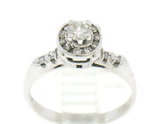 14k Solid White Gold Diamond Solitaire w/ Channel Halo Ladies Ring
