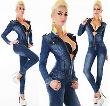 Sexy Women's Denim Jumpsuit Blue Wash Skinny Legs Jeans Party Overall Zips 6-14