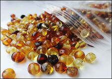 Multi-Color Natural Baltic Amber Round Loose With Holes Beads 10gr
