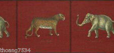 Elephant Cheetah Leopard Animal RAYMOND WAITES Red Wall paper Border 13.5""
