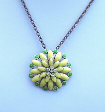 """Yellow Enamel and Bronze Tone Necklace and Pendant 17"""" +3.3/4"""""""