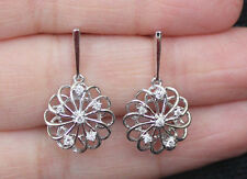 New 10K 0.15ct Diamond Swirling Flower Drop Dangle earrings White Gold Dangling