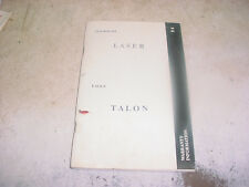 1994 Chrysler PLYMOUTH LASER EAGLE TALON Warranty Information Booklet MANUAL