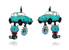Lol bijoux - Boucles d'Oreilles Pop Art - Chat - Coccinelle - Cox - Bleu