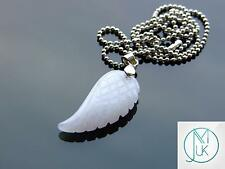 White Jade Gemstone Angel Wing Pendant Necklace Natural Chakra Healing Stone