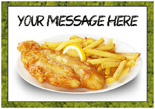 Chip Shop Fish and Chips A4 Personalised Cake Topper Edible ICING SHEET,Birthday