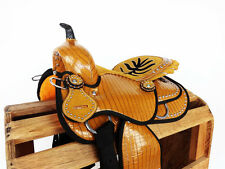 """12"""" SYNTHETIC YELLOW GATOR WESTERN RODEO TRAIL PONY HORSE YOUTH KIDS SADDLE"""