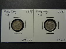 HONG KONG 1895 + 1899 QV SILVER FIVE 5 CENTS COMBO, FRESH EF!