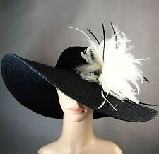 NEW Church Kentucky Derby BLACK Hat Wide Brim Dress Wedding Tea Party Ascot USA