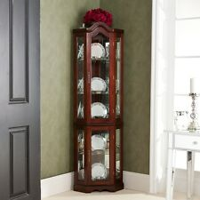 Corner Curio Cabinet Mahogany Finish Lighted China Display Case Glass Shelves