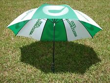 Vintage Northwestern Golf Umbrella & Cover Green and White 1980's