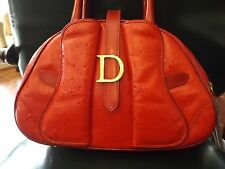 Auth Christian Dior Red Leather Bowler Bag Purse