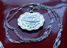 "Bahamas Two Bone Fish Proof Coin Pendant on a 30"" 925 Silver Wavy Twist Chain"