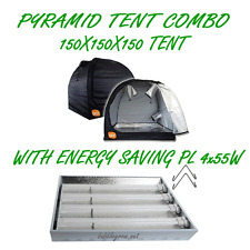 PYRAMID GROCELL 150X150X150 GROW TENT WITH PL 4X55W ENERGY SAVING GROWING LIGHT