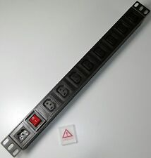 "8 way IEC C13 PDU with C14 Power Inlet  for *DETACHABLE LEAD* 1U 19"" Rackmount"