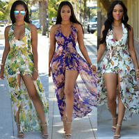 Sexy Womens Chiffon Mini Playsuit Ladies Jumpsuit Shorts Summer Beach Sun Dress
