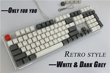 108 keys PBT Keycaps Translucidus Backlit Double shot White&Grey Retro Keycap