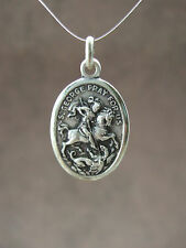 Vintage Catholic medal ST. GEORGE with dragon soldier military 25mm silver finis
