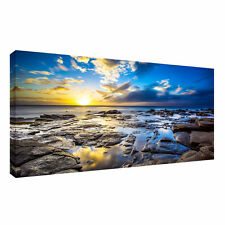 Large beach,sea, sky,water landscape 20x40 inch Canvas Wall sunset Picture