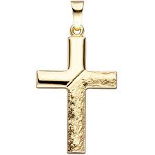 NEU Damen Herren Kreuz Anhänger echt Gold 585er 585 Gelbgold 14 KT Hammer Design