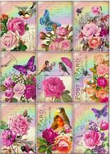 Roses Birds & Butterflys Postcard ~ Card Toppers / Scrapbooking / Card Making