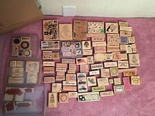 LARGE MIXED LOT OF 110 RUBBER STAMPS, ANIMALS, FLOWERS, SAYINGS NEW & USED