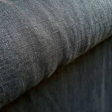Natural rough organic linen fabric softened heavy black linen for upholstery
