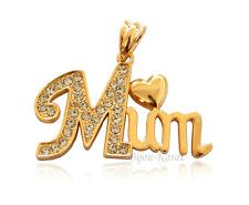 MUM Mama Gold Ketten Anhänger 18 Karat GP Muttertag Liebe Geschenk Pendant Herz