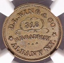 1861-65 Albany NY D.L. Wing Civil War Store Card Token F-10H-1a - NGC AU 55 BN